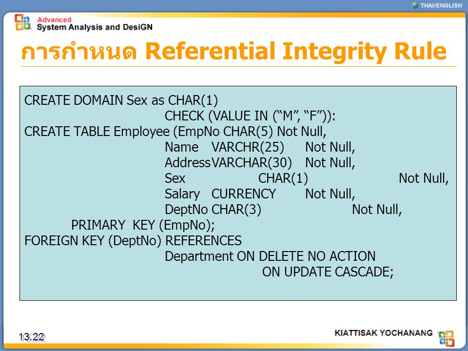 การกำหนด Referential Integrity Rule