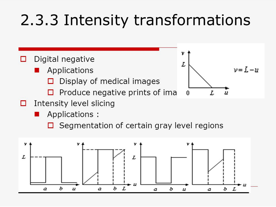 2.3.3 Intensity transformations