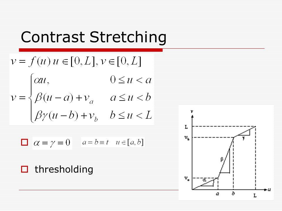 Contrast Stretching Contrast stretching Clipping thresholding
