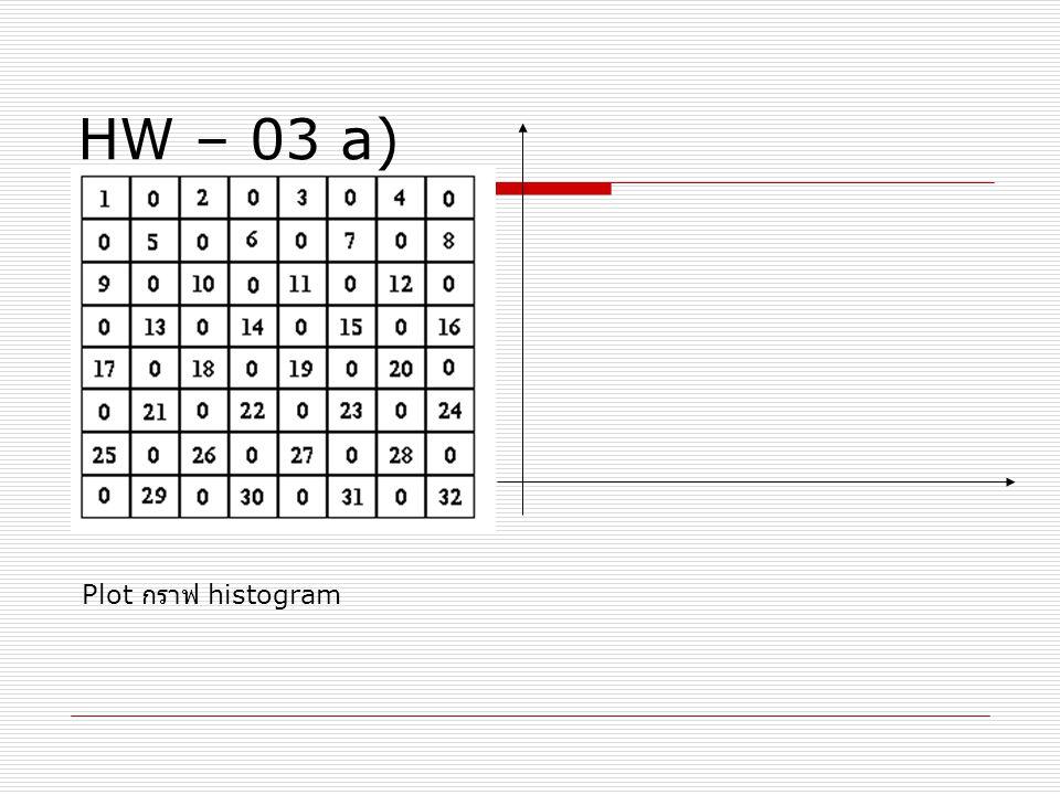 HW – 03 a) Plot กราฟ histogram