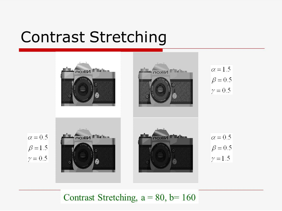 Contrast Stretching, a = 80, b= 160