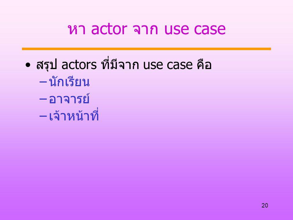 หา actor จาก use case สรุป actors ที่มีจาก use case คือ นักเรียน