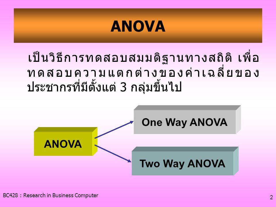 ANOVA เป็นวิธีการทดสอบสมมติฐานทางสถิติ เพื่อทดสอบความแตกต่างของค่าเฉลี่ยของประชากรที่มีตั้งแต่ 3 กลุ่มขึ้นไป.