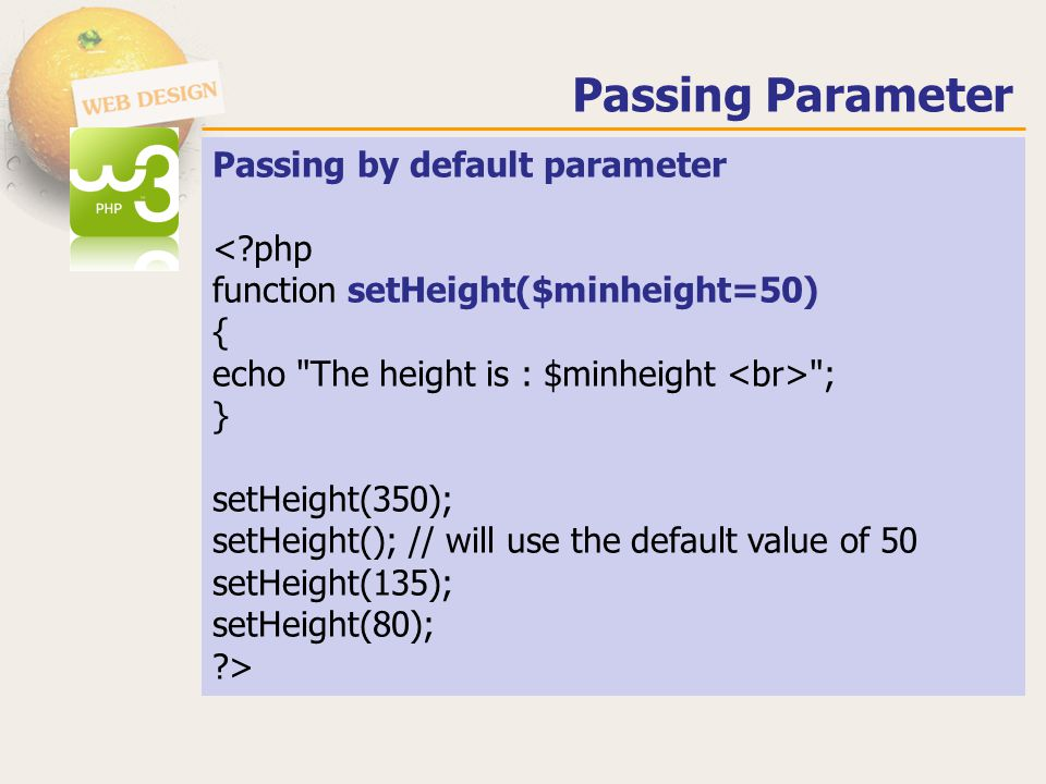 Passing Parameter Passing by default parameter