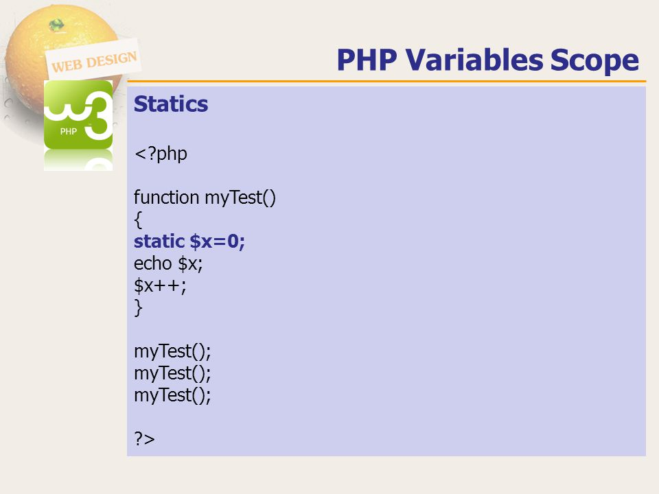 PHP Variables Scope Statics