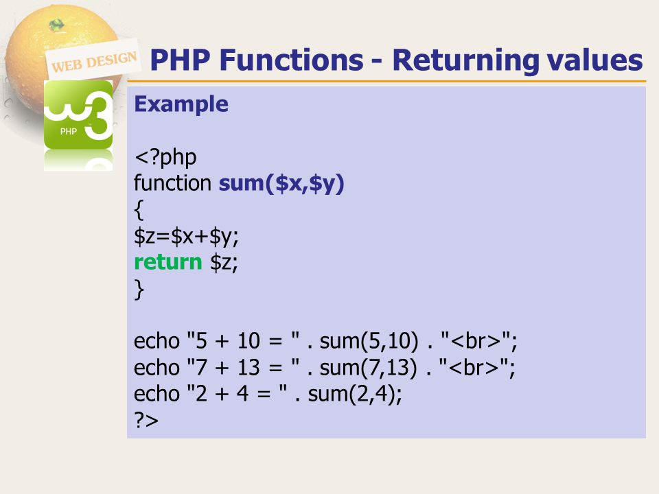 PHP Functions - Returning values