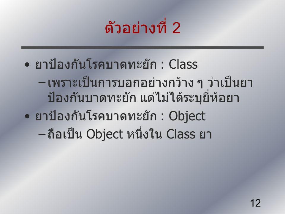ตัวอย่างที่ 2 ยาป้องกันโรคบาดทะยัก : Class