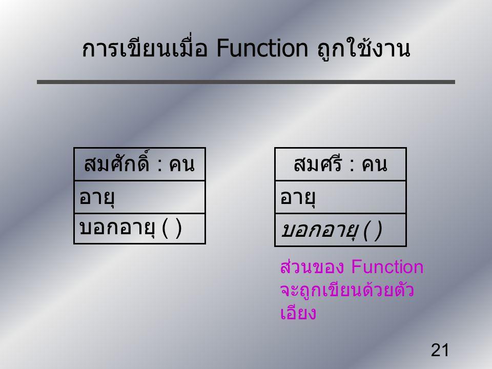 การเขียนเมื่อ Function ถูกใช้งาน