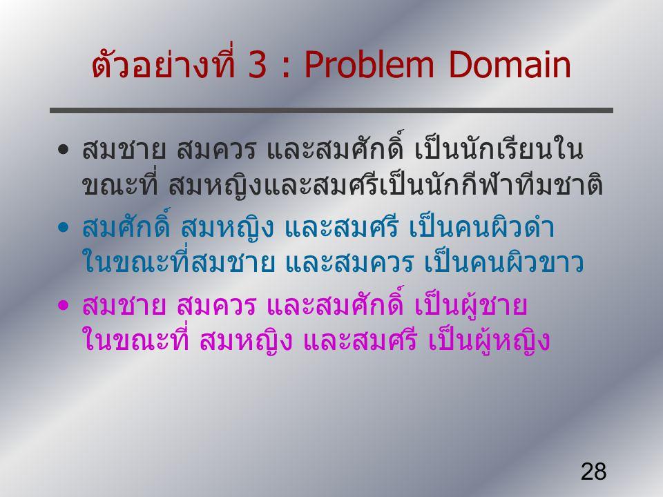 ตัวอย่างที่ 3 : Problem Domain