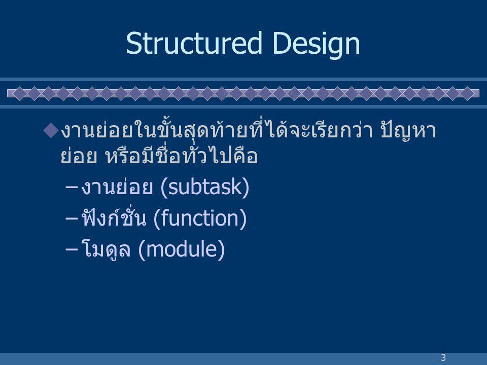 Structured Design งานย่อยในขั้นสุดท้ายที่ได้จะเรียกว่า ปัญหา ย่อย หรือมีชื่อทั่วไปคือ. งานย่อย (subtask)