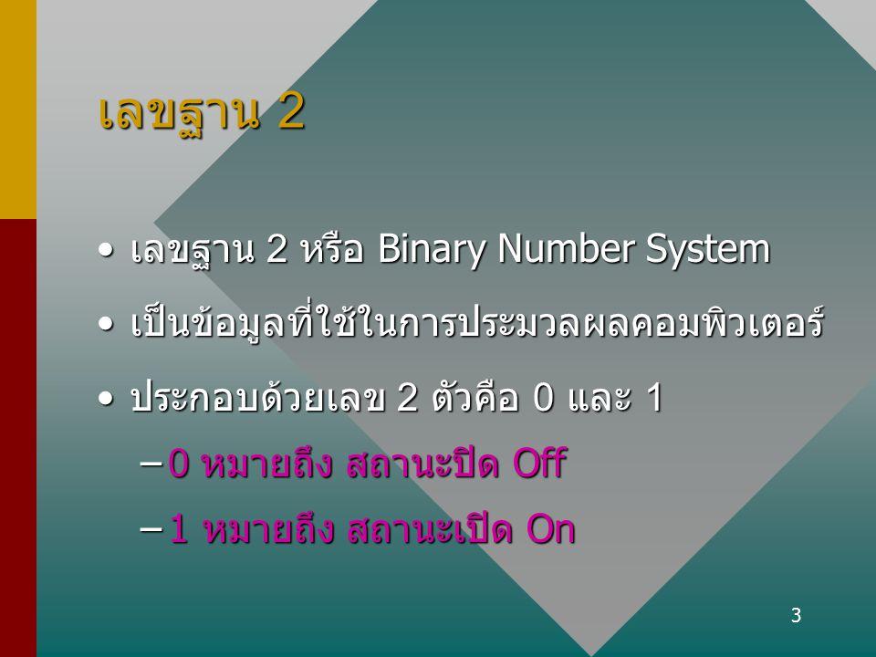 เลขฐาน 2 เลขฐาน 2 หรือ Binary Number System