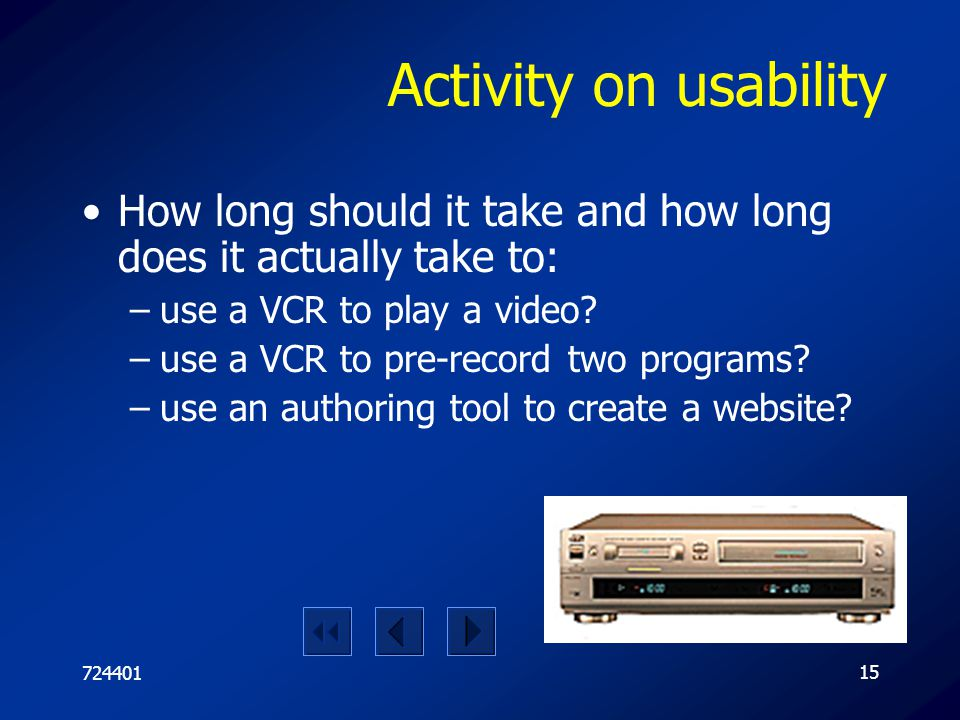 Activity on usability How long should it take and how long does it actually take to: use a VCR to play a video