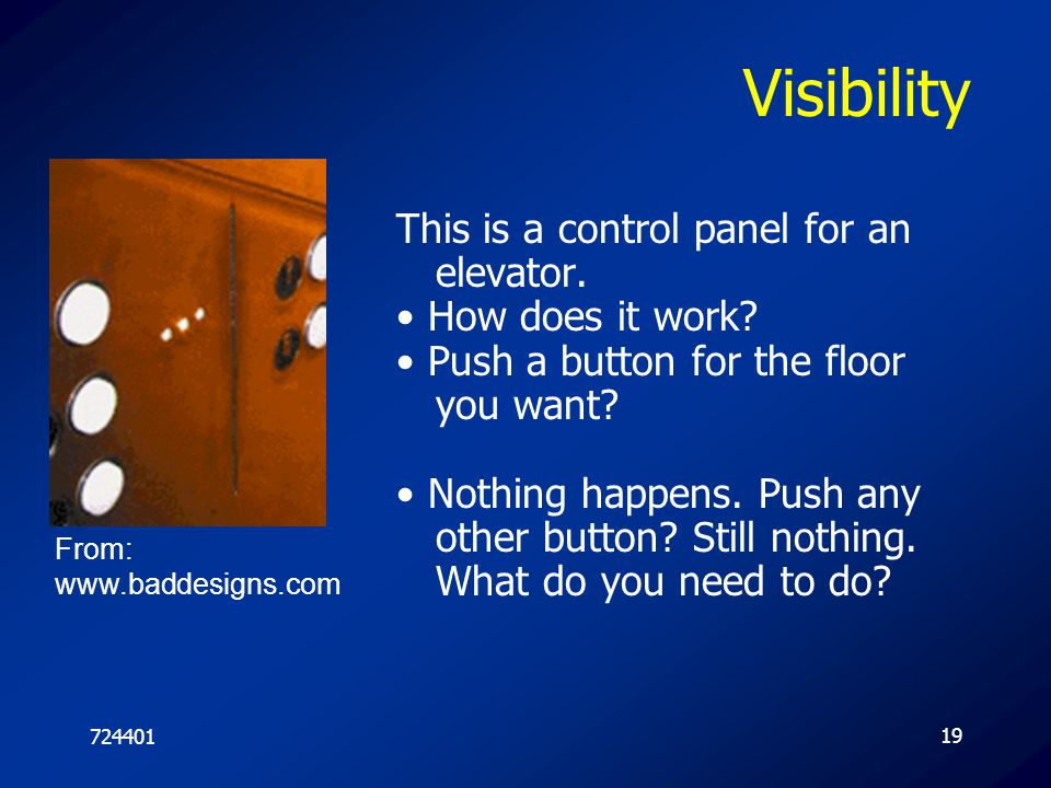 Visibility This is a control panel for an elevator.