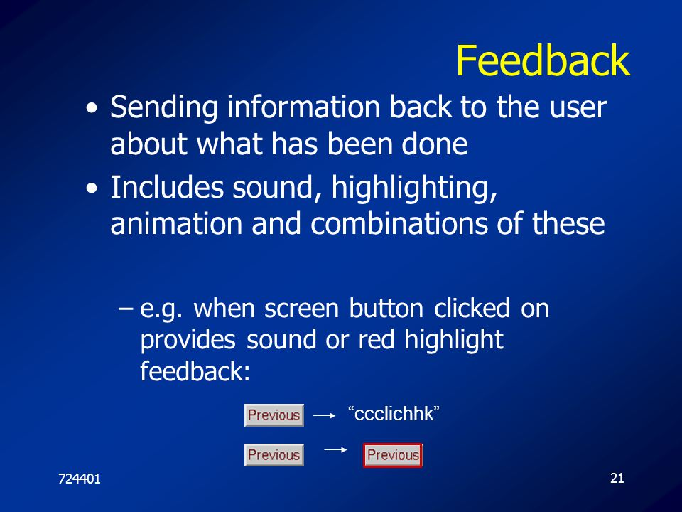 Feedback Sending information back to the user about what has been done