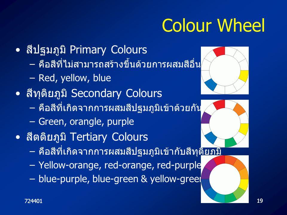 Colour Wheel สีปฐมภูมิ Primary Colours สีทุติยภูมิ Secondary Colours