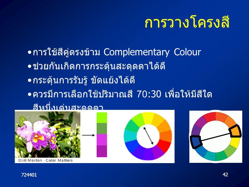 การวางโครงสี การใช้สีคู่ตรงข้าม Complementary Colour