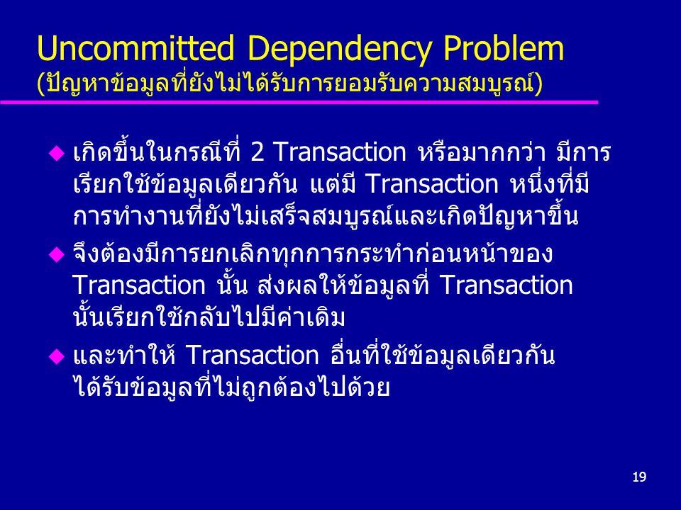 Uncommitted Dependency Problem (ปัญหาข้อมูลที่ยังไม่ได้รับการยอมรับความสมบูรณ์)