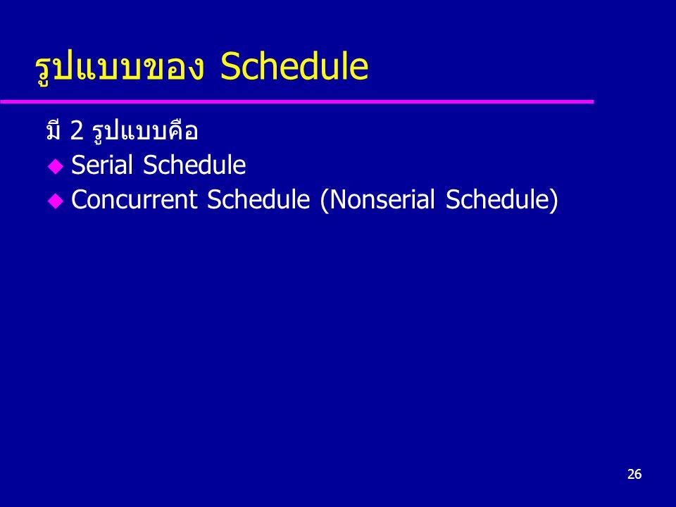 รูปแบบของ Schedule มี 2 รูปแบบคือ Serial Schedule