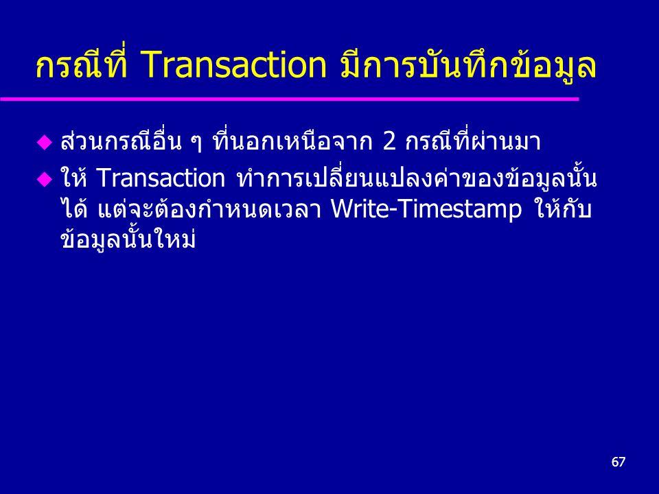 กรณีที่ Transaction มีการบันทึกข้อมูล