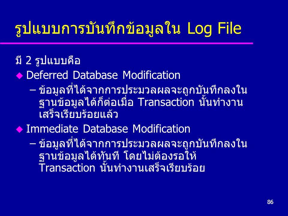 รูปแบบการบันทึกข้อมูลใน Log File