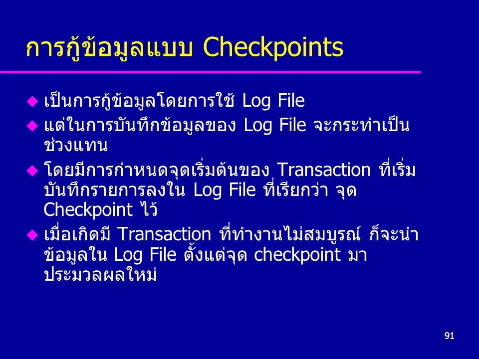 การกู้ข้อมูลแบบ Checkpoints