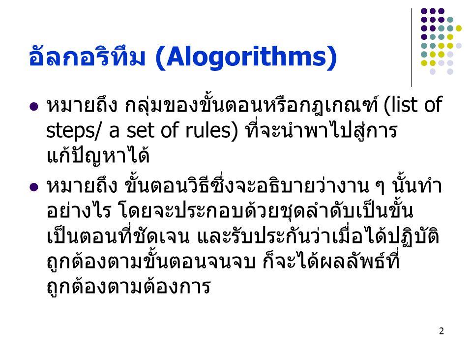 อัลกอริทึม (Alogorithms)