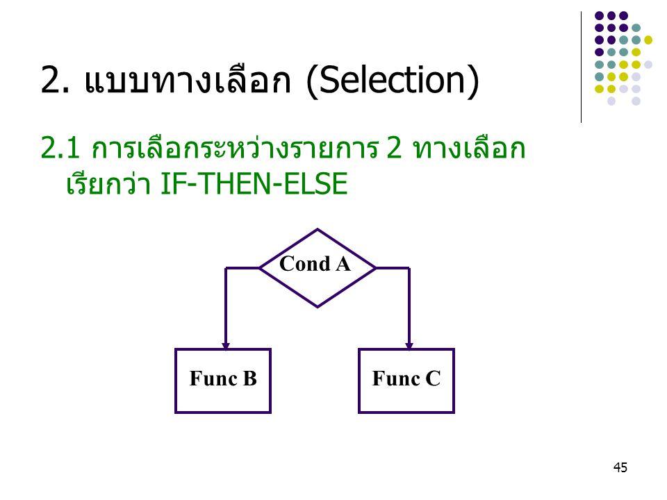 2. แบบทางเลือก (Selection)