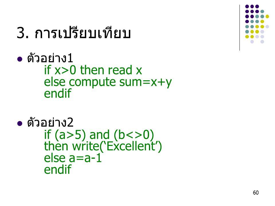 3. การเปรียบเทียบ ตัวอย่าง1 if x>0 then read x else compute sum=x+y
