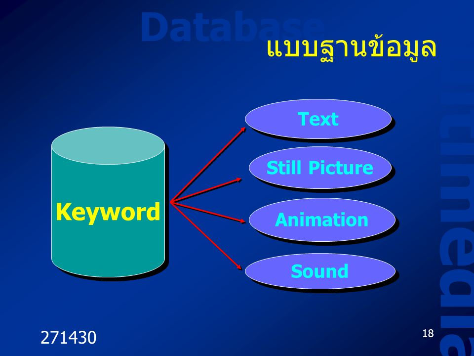Multimedia Database แบบฐานข้อมูล Keyword Text Still Picture Animation