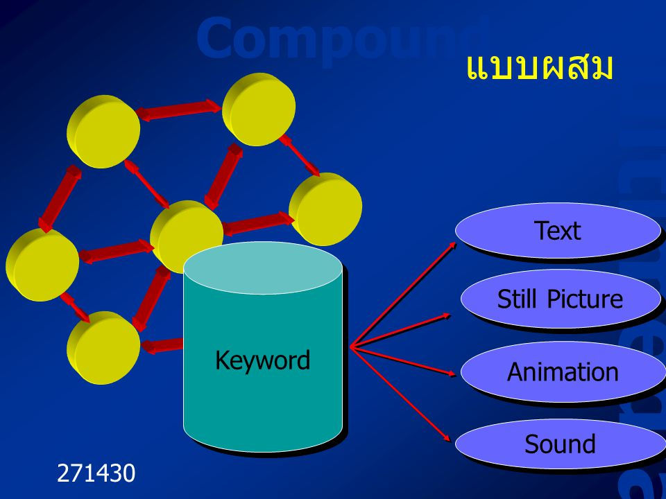 Multimedia Compound แบบผสม Text Still Picture Keyword Animation Sound