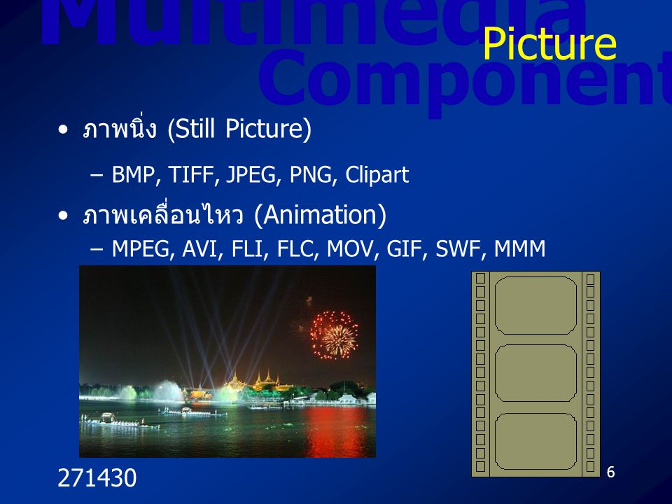 Multimedia Component Picture ภาพนิ่ง (Still Picture)