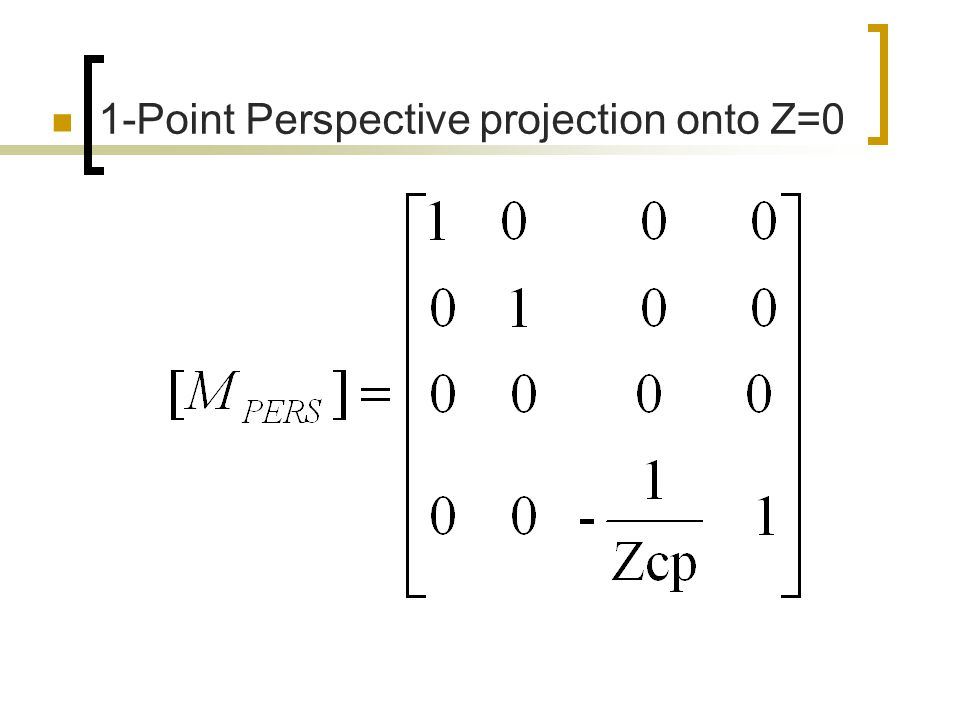 1-Point Perspective projection onto Z=0