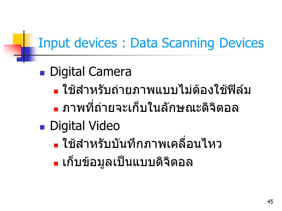 Input devices : Data Scanning Devices