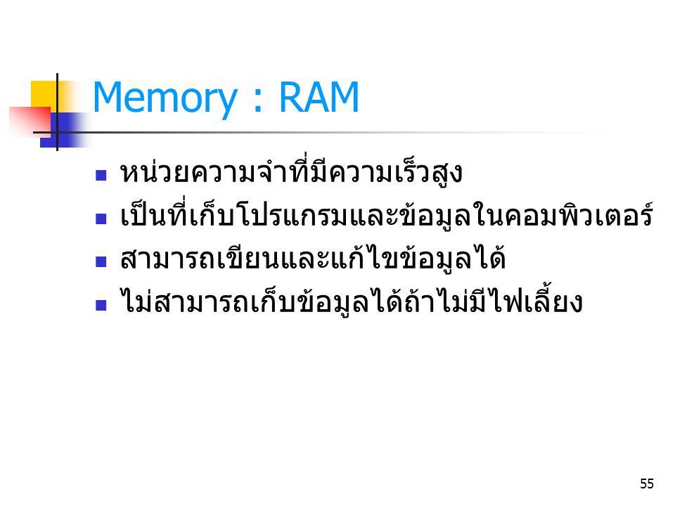 Memory : RAM หน่วยความจำที่มีความเร็วสูง