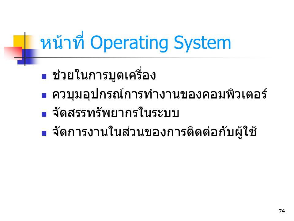 หน้าที่ Operating System