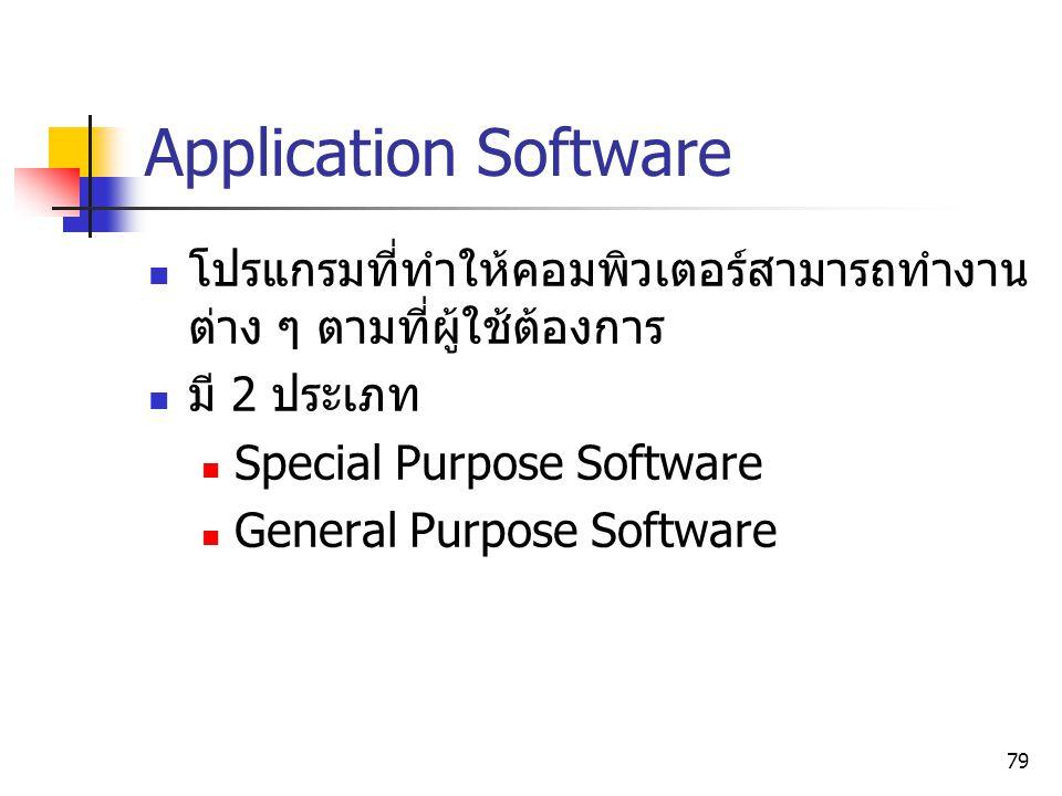 Application Software โปรแกรมที่ทำให้คอมพิวเตอร์สามารถทำงานต่าง ๆ ตามที่ผู้ใช้ต้องการ. มี 2 ประเภท.