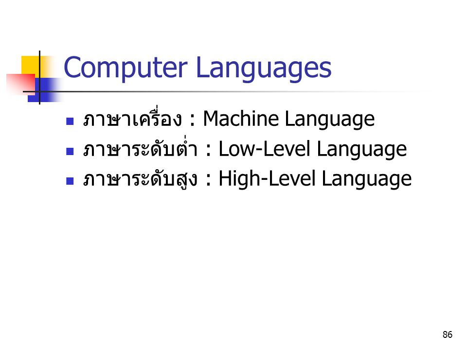 Computer Languages ภาษาเครื่อง : Machine Language
