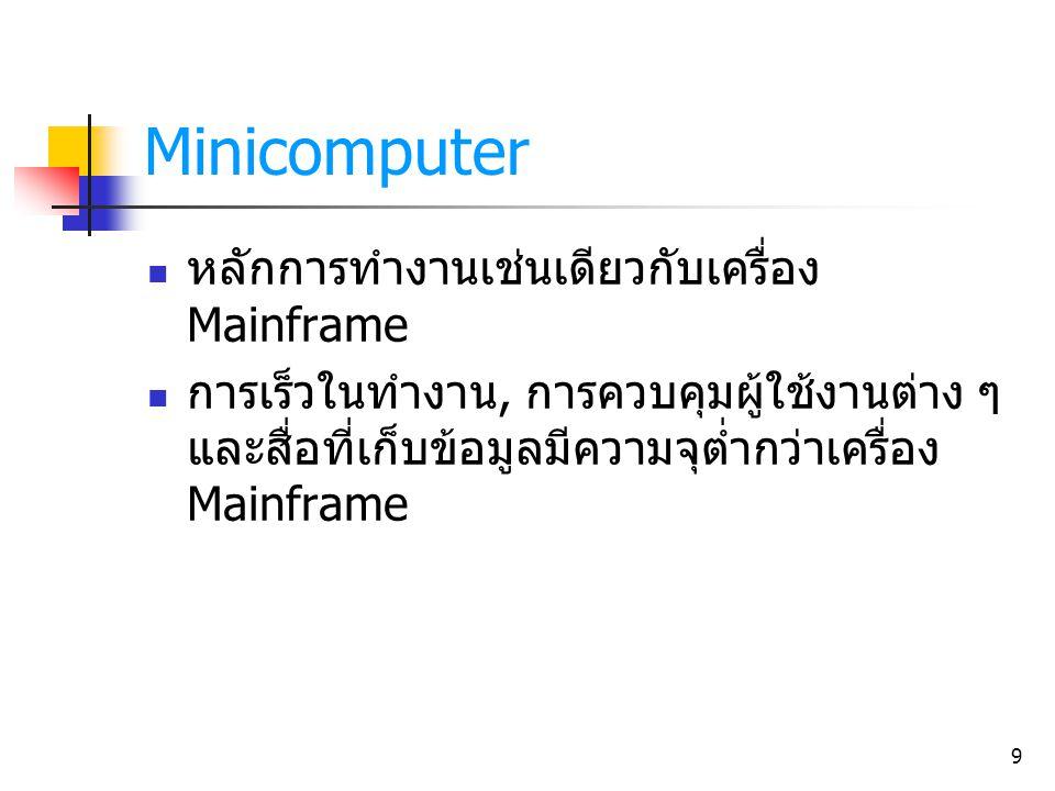 Minicomputer หลักการทำงานเช่นเดียวกับเครื่อง Mainframe