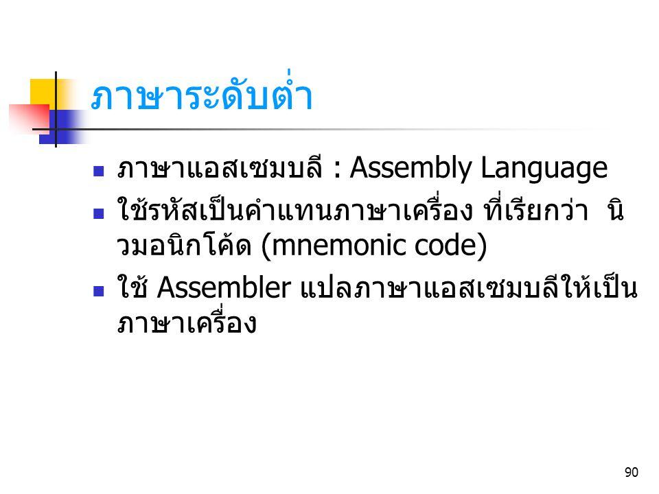 ภาษาระดับต่ำ ภาษาแอสเซมบลี : Assembly Language