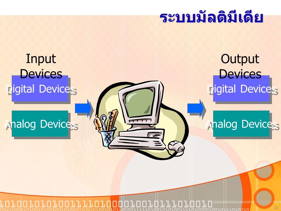 ระบบมัลติมีเดีย Input Devices Output Devices Digital Devices