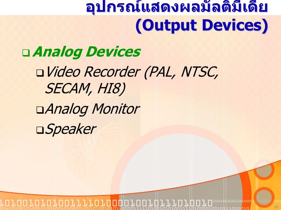 อุปกรณ์แสดงผลมัลติมีเดีย (Output Devices)