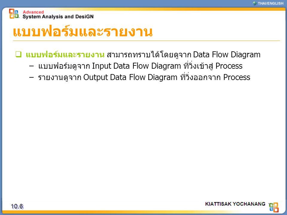 แบบฟอร์มและรายงาน แบบฟอร์มและรายงาน สามารถทราบได้โดยดูจาก Data Flow Diagram. แบบฟอร์มดูจาก Input Data Flow Diagram ที่วิ่งเข้าสู่ Process.