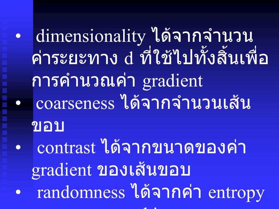 dimensionality ได้จากจำนวนค่าระยะทาง d ที่ใช้ไปทั้งสิ้นเพื่อการคำนวณค่า gradient