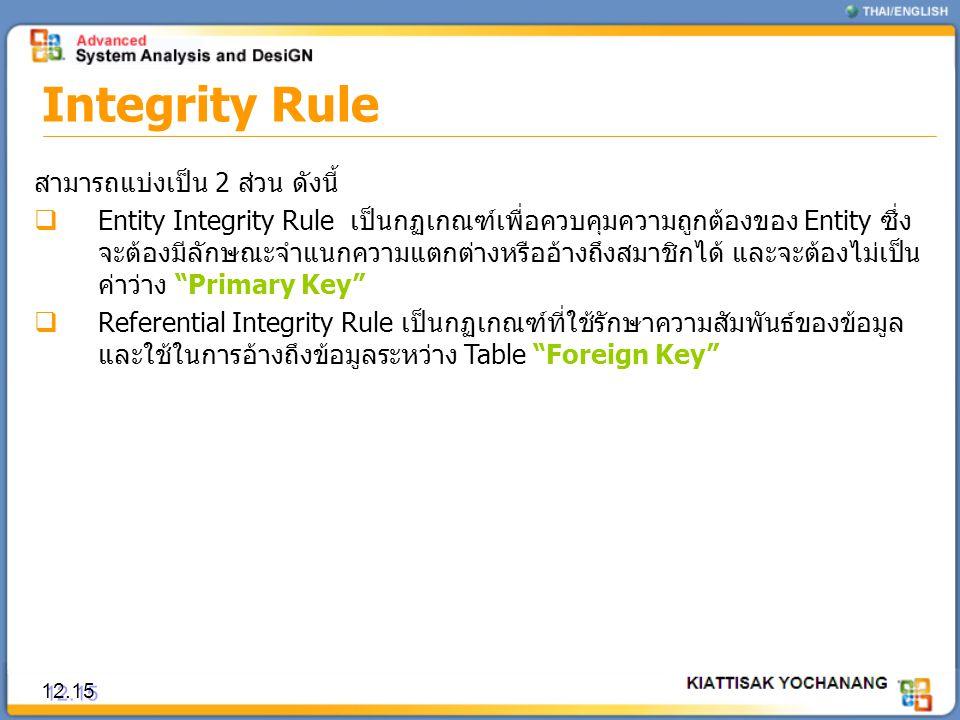 Integrity Rule สามารถแบ่งเป็น 2 ส่วน ดังนี้