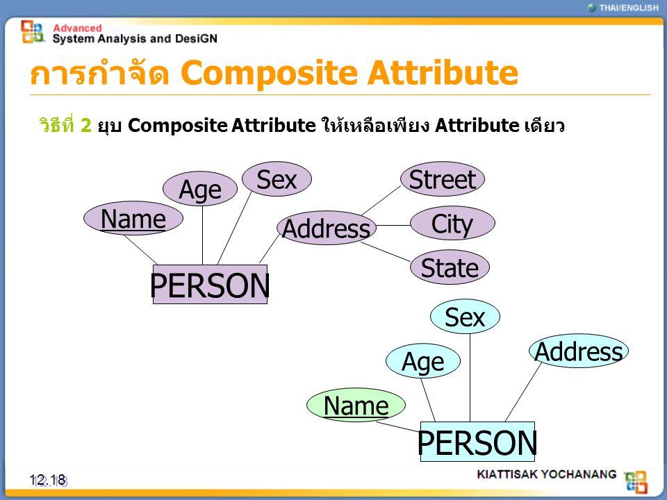 การกำจัด Composite Attribute