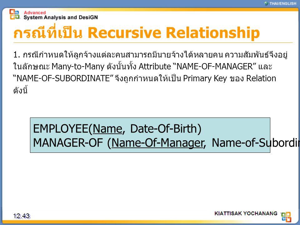 กรณีที่เป็น Recursive Relationship