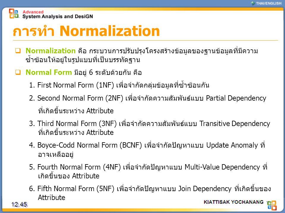 การทำ Normalization Normalization คือ กระบวนการปรับปรุงโครงสร้างข้อมูลของฐานข้อมูลที่มีความซ้ำซ้อนให้อยู่ในรูปแบบที่เป็นบรรทัดฐาน.