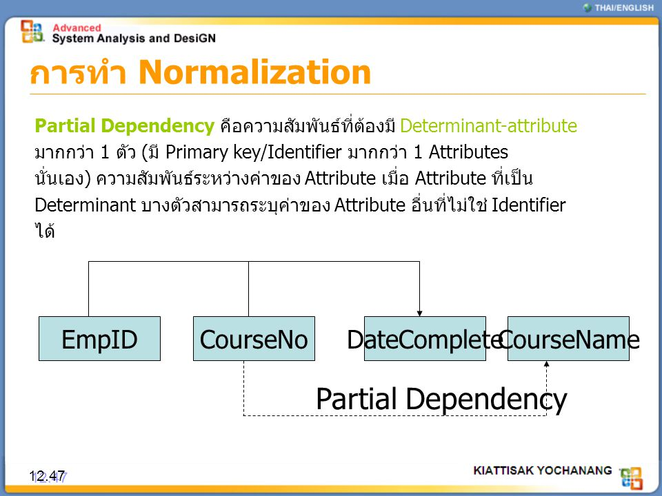 การทำ Normalization Partial Dependency EmpID CourseNo DateComplete