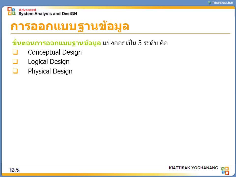 การออกแบบฐานข้อมูล ขั้นตอนการออกแบบฐานข้อมูล แบ่งออกเป็น 3 ระดับ คือ