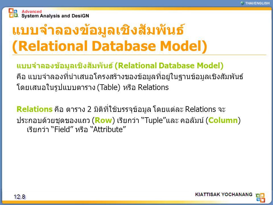 แบบจำลองข้อมูลเชิงสัมพันธ์ (Relational Database Model)